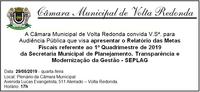 Convite - Audiência Pública - Relatório das Metas Fiscais