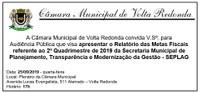 Audiência Pública da Secretaria Municipal de Planejamento, Transparência e Modernização da Gestão- SEPLAG.