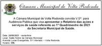 Convite - Audiência Pública - Relatório 1º quadrimestre