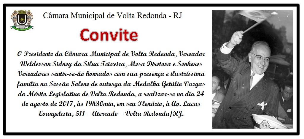 Convite Medalha Getúlio Vargas