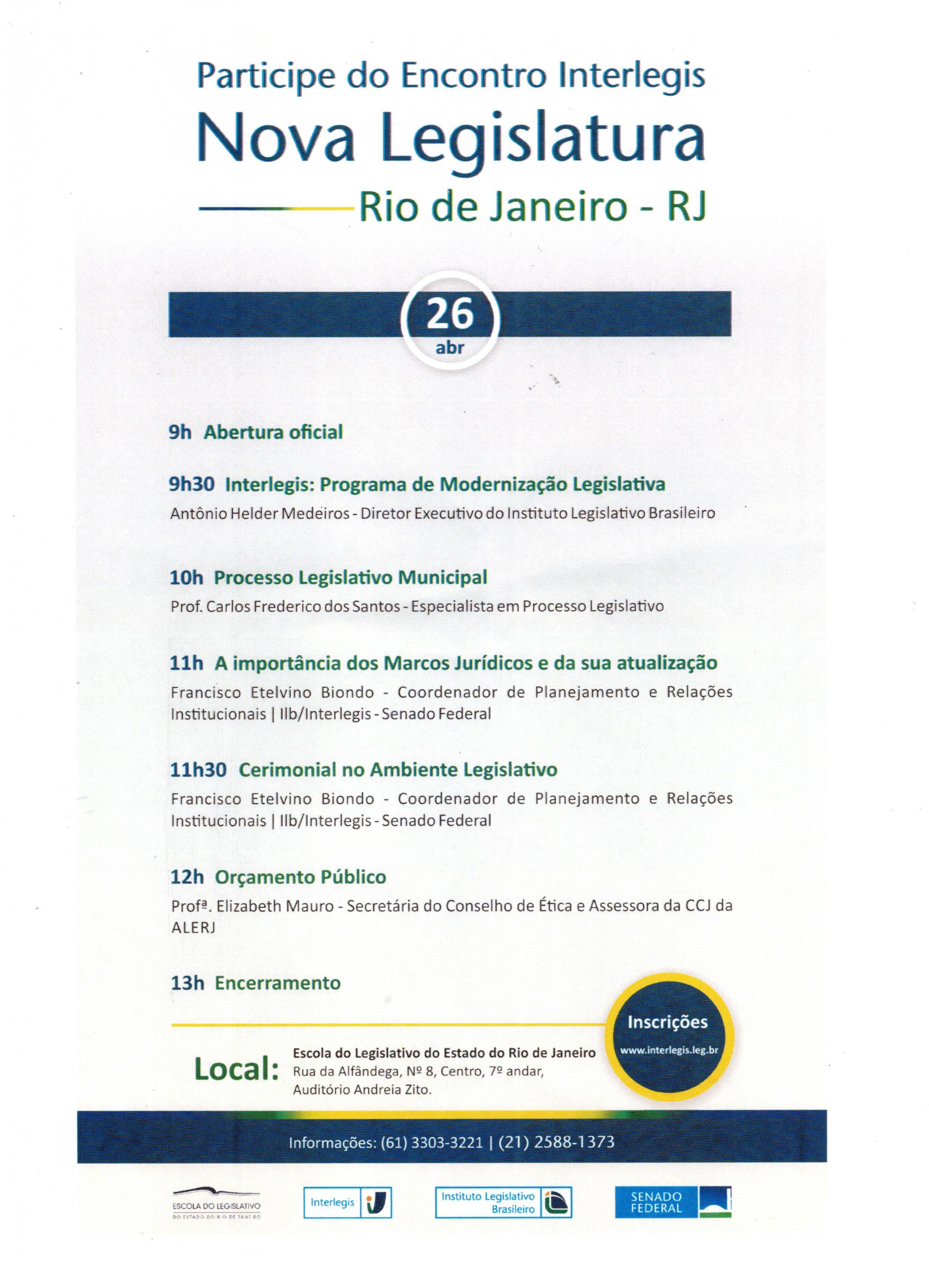 Encontro Interlegis Nova Legislatura Rio de Janeiro- RJ
